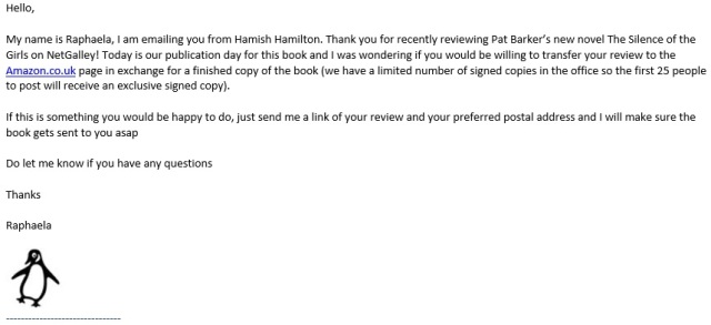 email from Penguin publishing